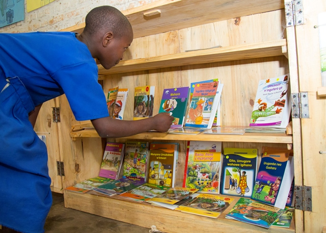 Books and bookshelves supplied by SC to Burera schools