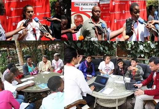 (Above) CD & children interviewed by the press, (below) children in skills sharing sessions.