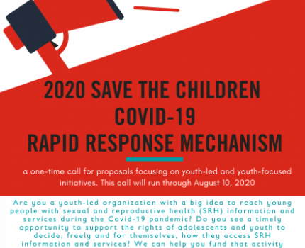 2020 SAVE THE CHILDREN COVID-19 RAPID RESPONSE MECHANISM: Call for Youth Organizations