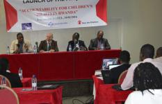 Edwin Kuria, D/Operations, Jakob Eilsøe Mikkelsen, Area Representative for SC Denmark,  Tharcisse Niyonzima, Executive Secretary, Rutsiro district, and Ivan Niyiguha, Programme Manager, Children's Voice Today